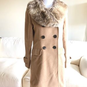 Beautiful Fur Collared Winter Pea Coat Jacket